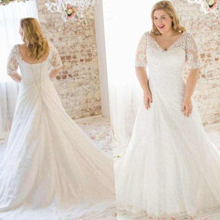 plus size champagne wedding dresses photo - 1