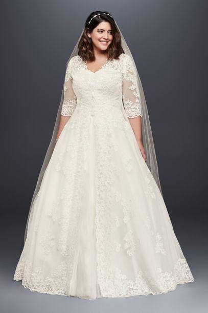 plus size ivory wedding dresses with sleeves photo - 1