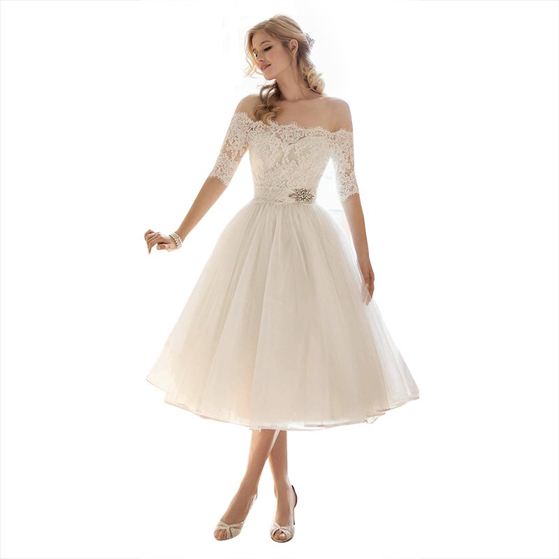 plus size tea length wedding dresses photo - 1
