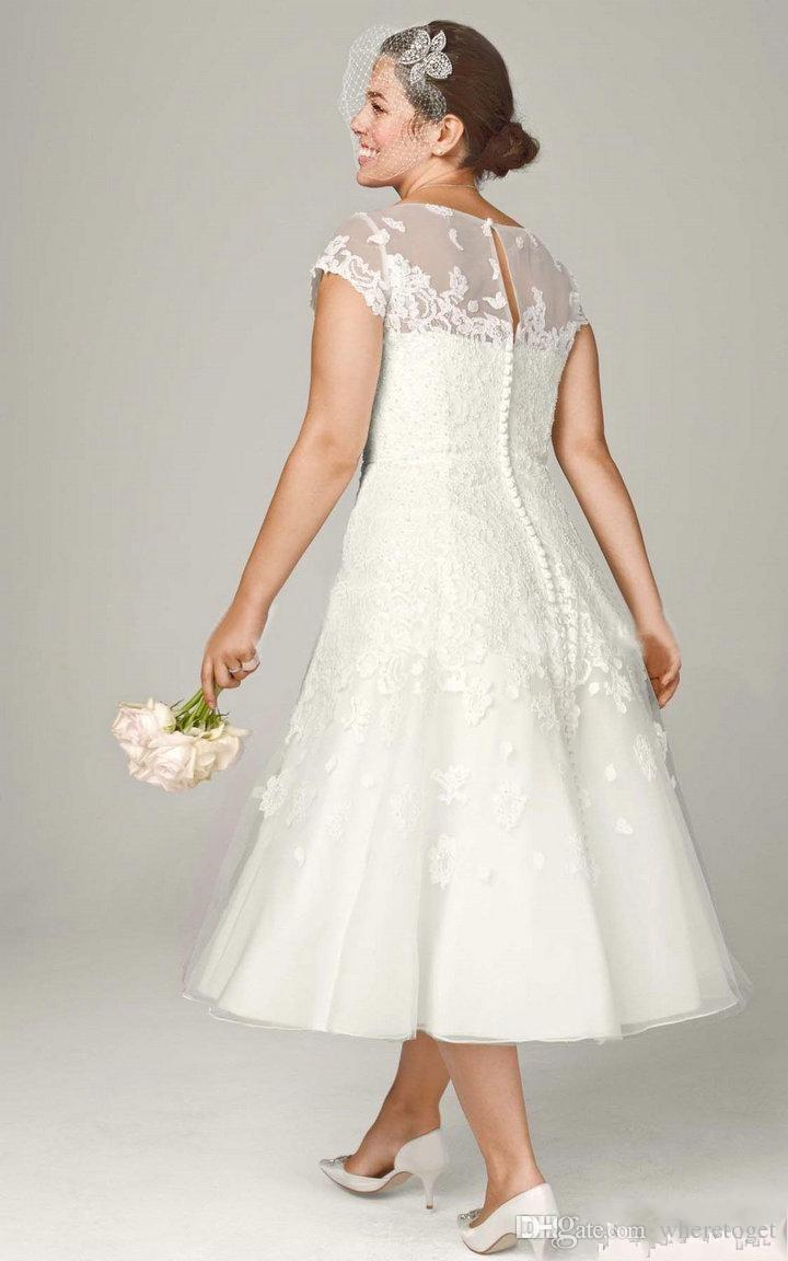 plus size tea length wedding dresses with sleeves photo - 1