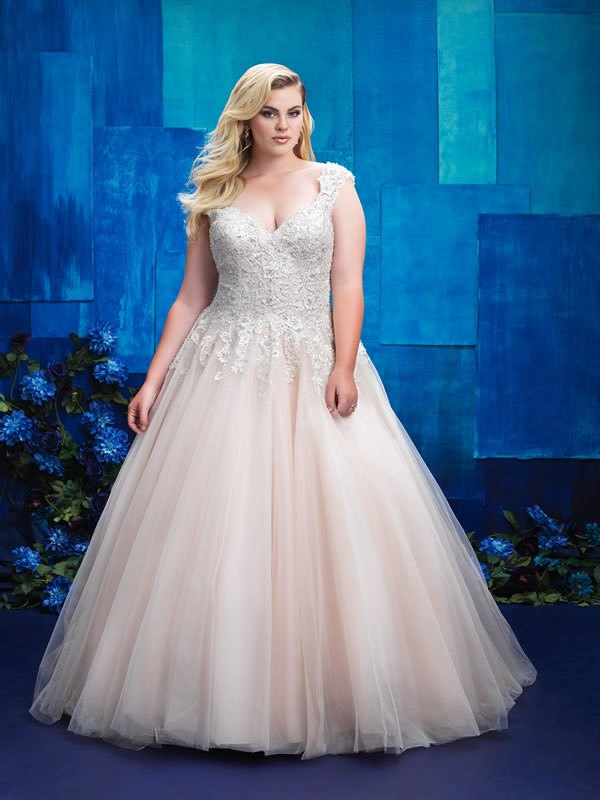 plus size wedding dresses with color photo - 1