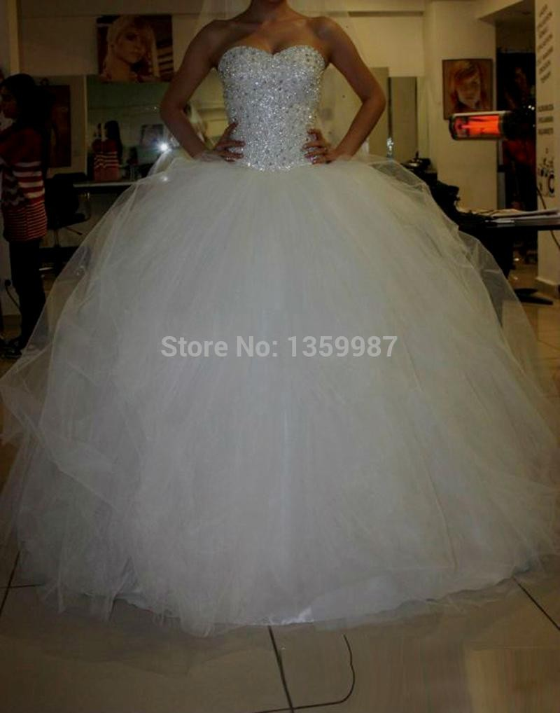 princess ball gown wedding dresses with bling photo - 1