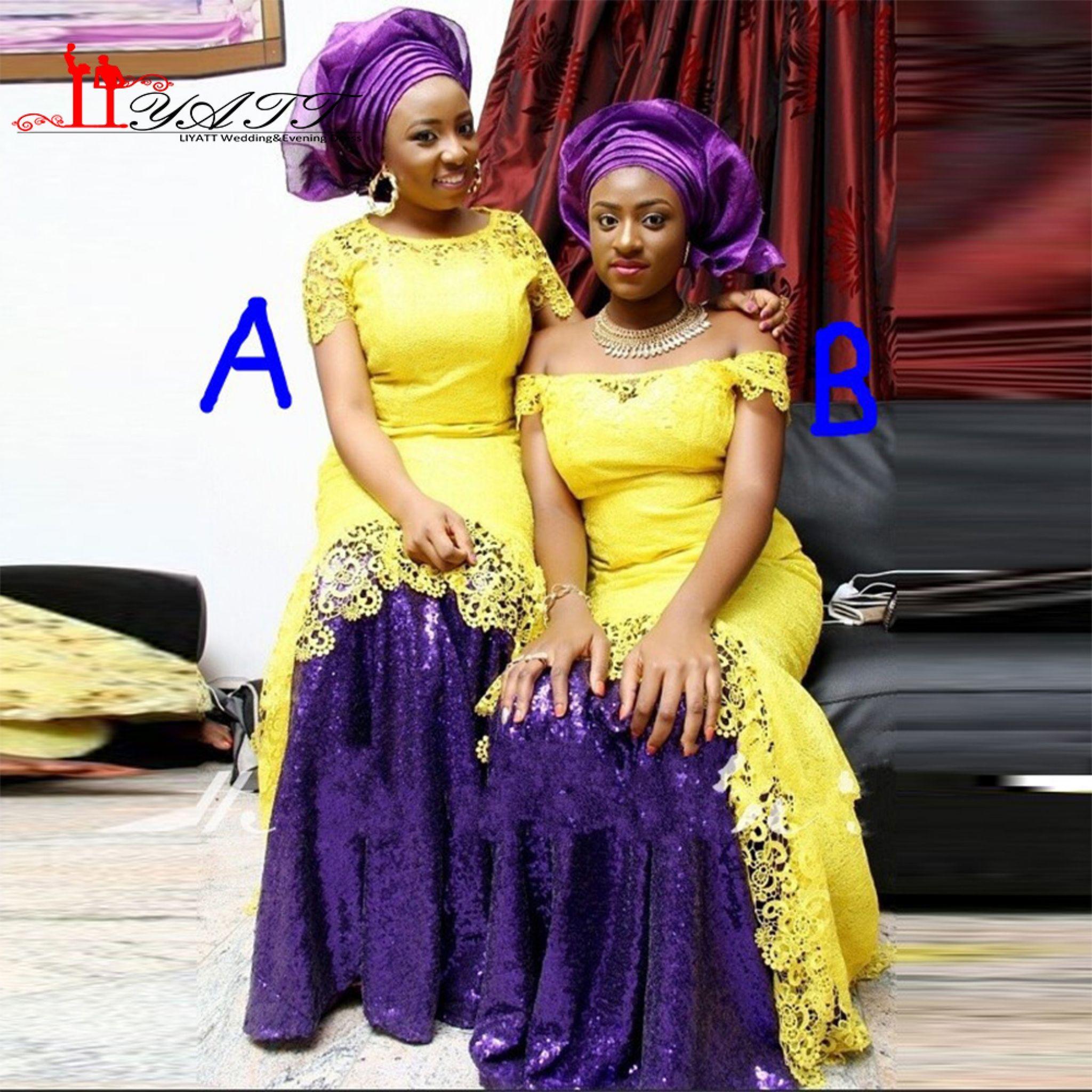 purple and yellow wedding bridesmaid dresses photo - 1