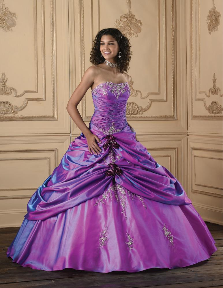 purple ball gown wedding dresses photo - 1