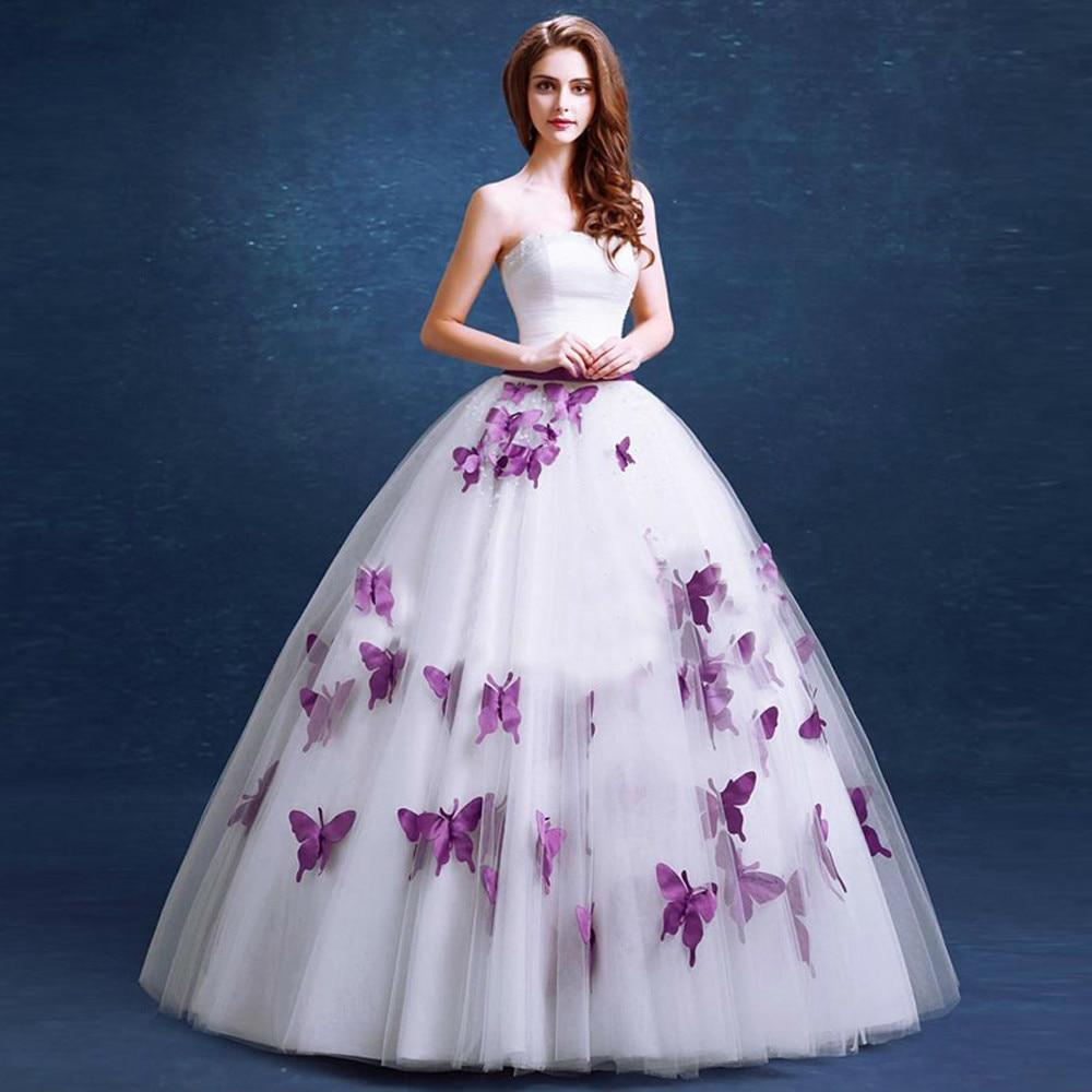 purple wedding dresses cheap photo - 1