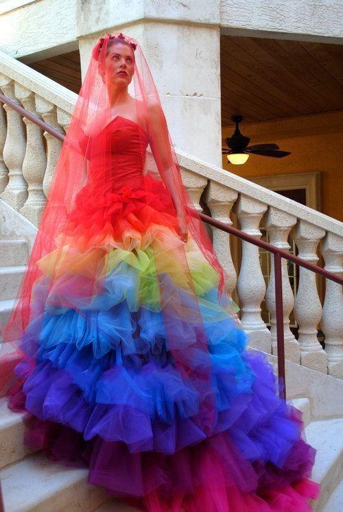 rainbow colored wedding dresses photo - 1