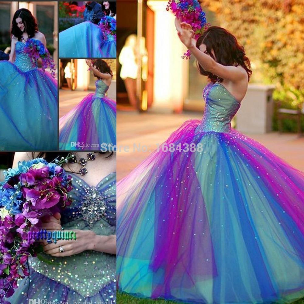 rainbow wedding bridesmaid dresses photo - 1