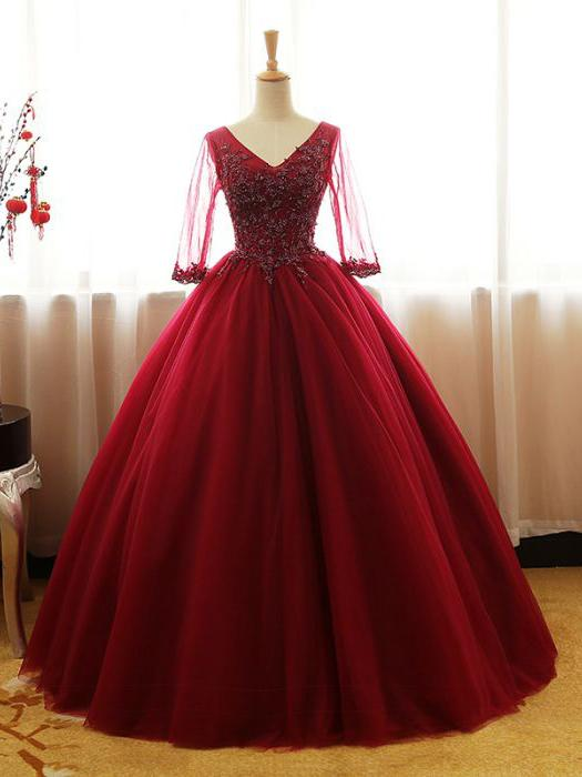 red and white ball gown wedding dresses photo - 1