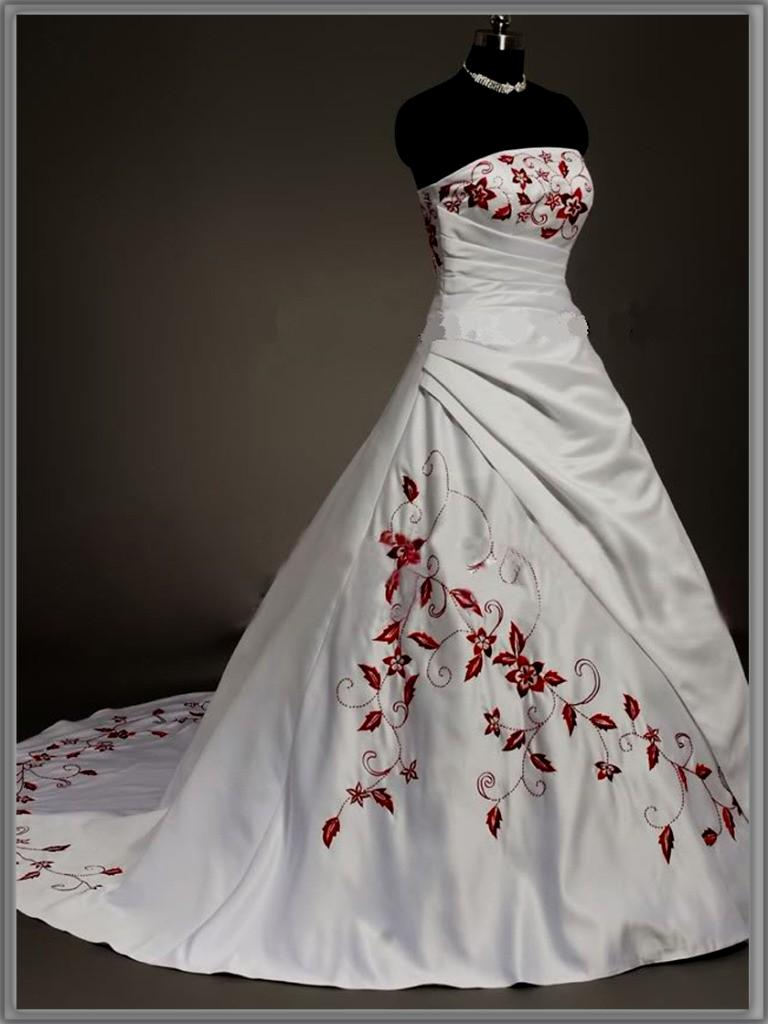 red and white corset wedding dresses photo - 1