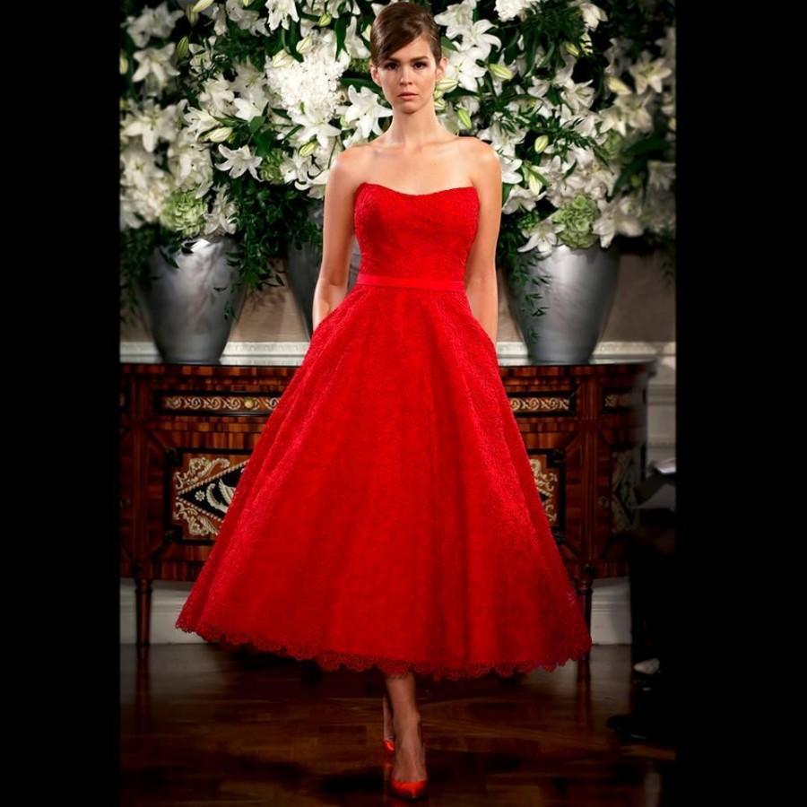 red vintage wedding dresses photo - 1