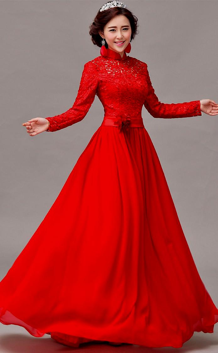 red wedding dresses with sleeves photo - 1