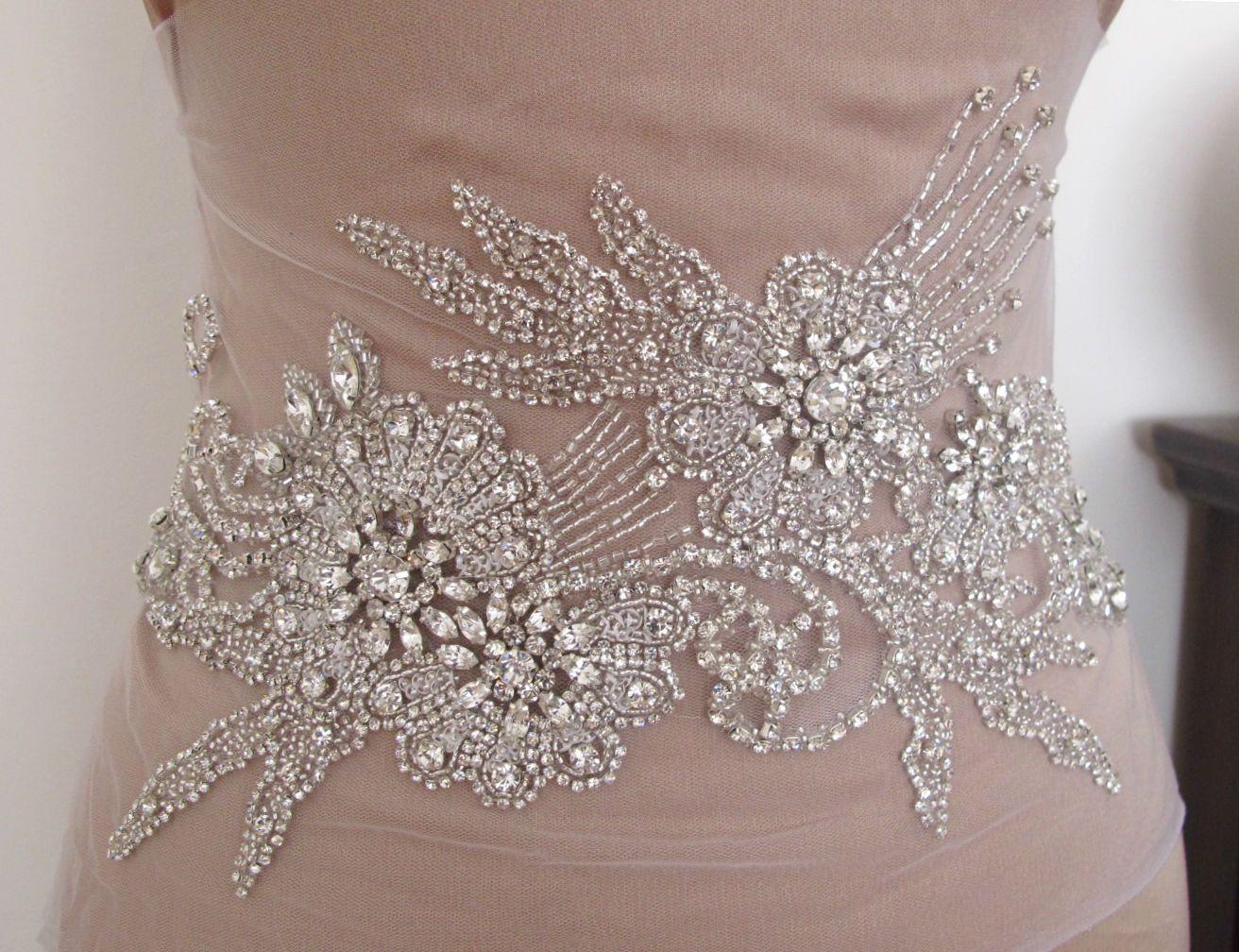 rhinestone appliques for wedding dresses photo - 1