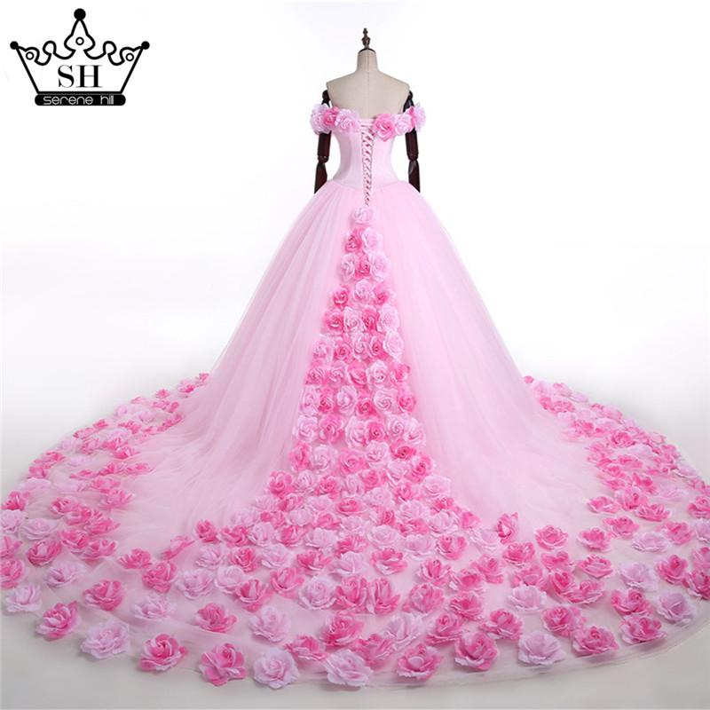 rose color wedding dresses photo - 1