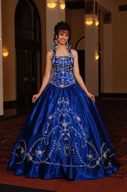 royal blue and black wedding dresses photo - 1