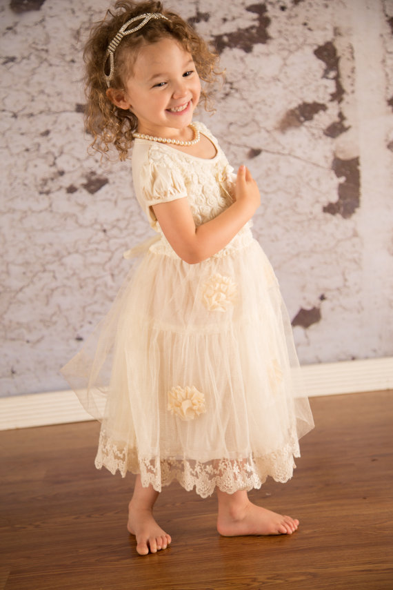 rustic wedding flower girl dresses photo - 1