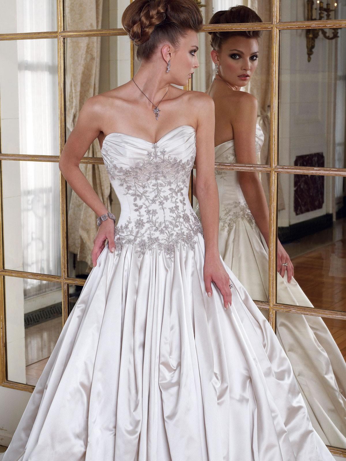satin a line wedding dresses photo - 1