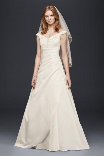 satin aline wedding dresses photo - 1