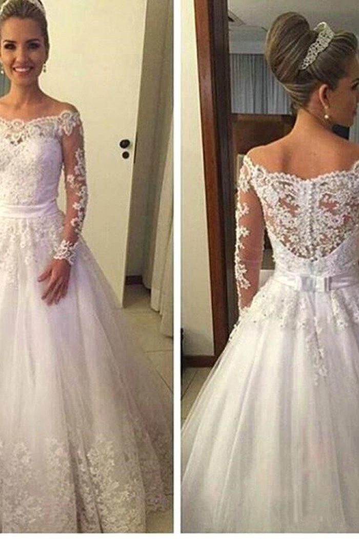 satin lace wedding dresses photo - 1