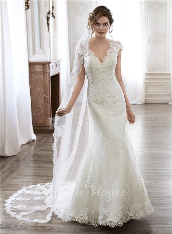 scalloped neckline wedding dresses photo - 1