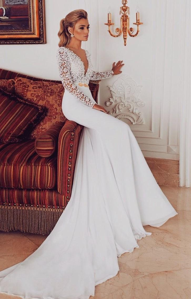 sexy wedding dresses with sleeves photo - 1