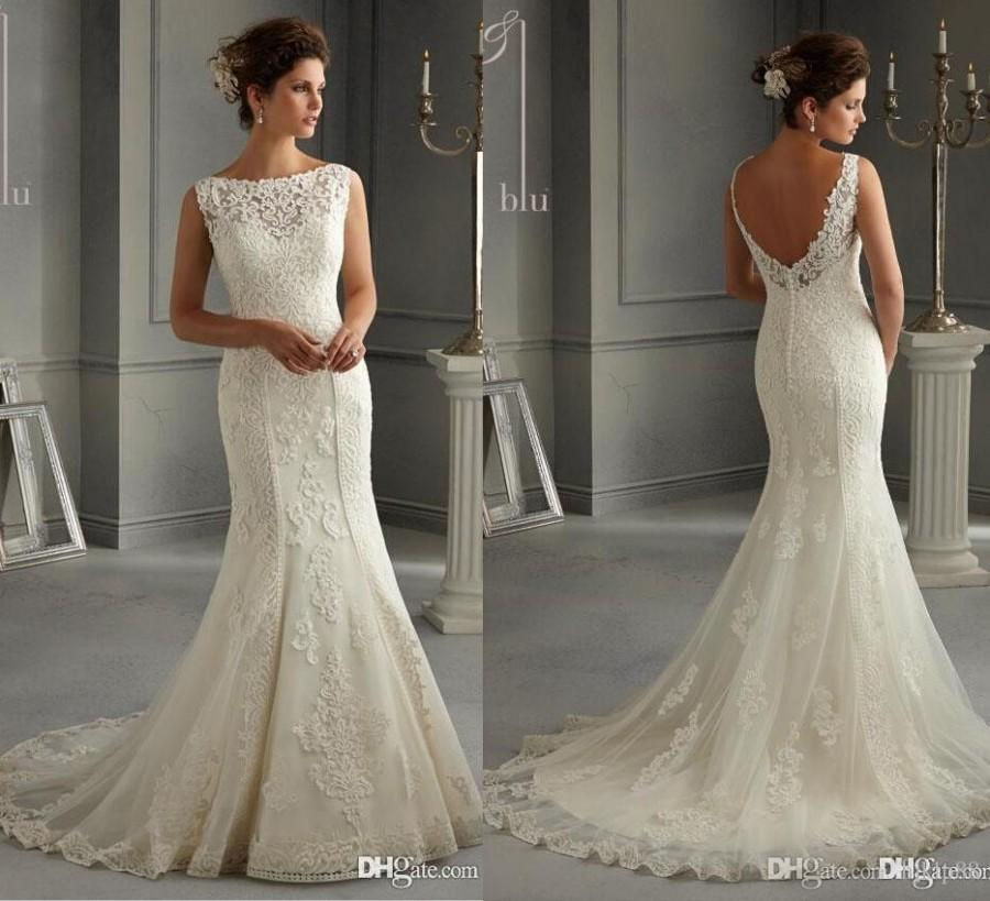 sheath mermaid wedding dresses photo - 1