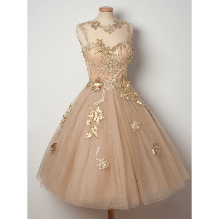 short champagne wedding dresses photo - 1