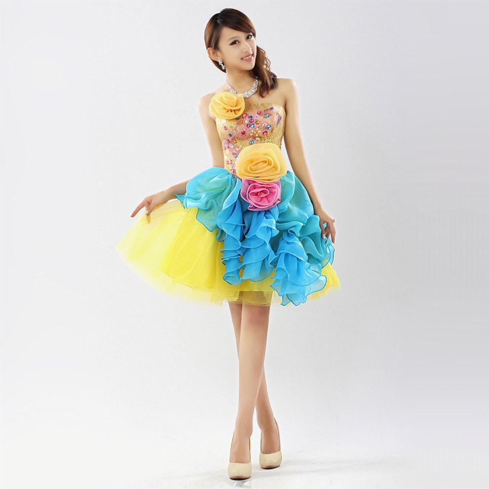 short colored wedding dresses photo - 1
