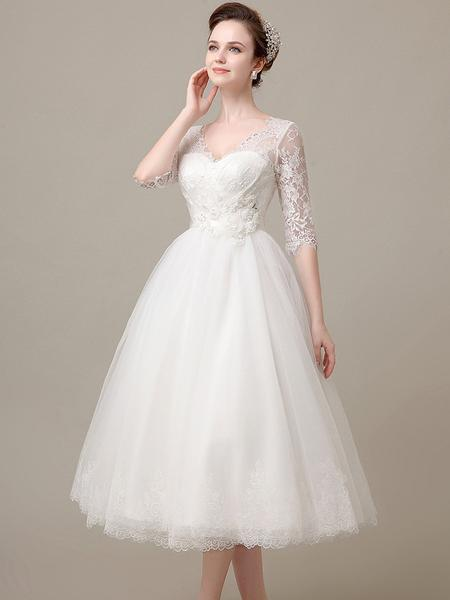 short long sleeve wedding dresses photo - 1
