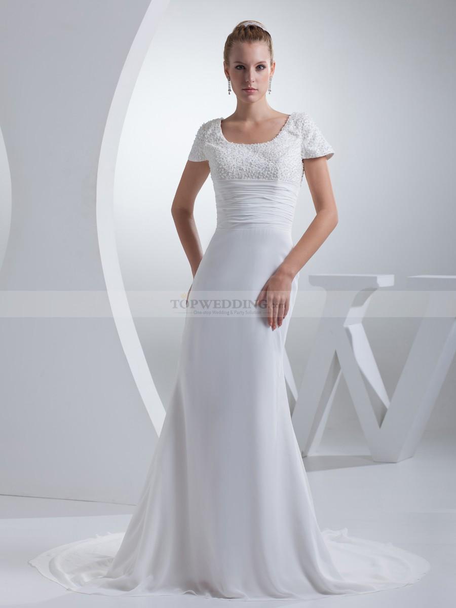 short sleeve wedding dresses photo - 1