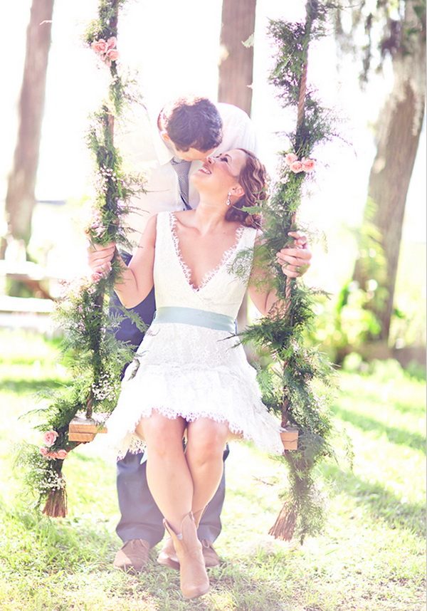 short wedding dresses with cowboy boots photo - 1