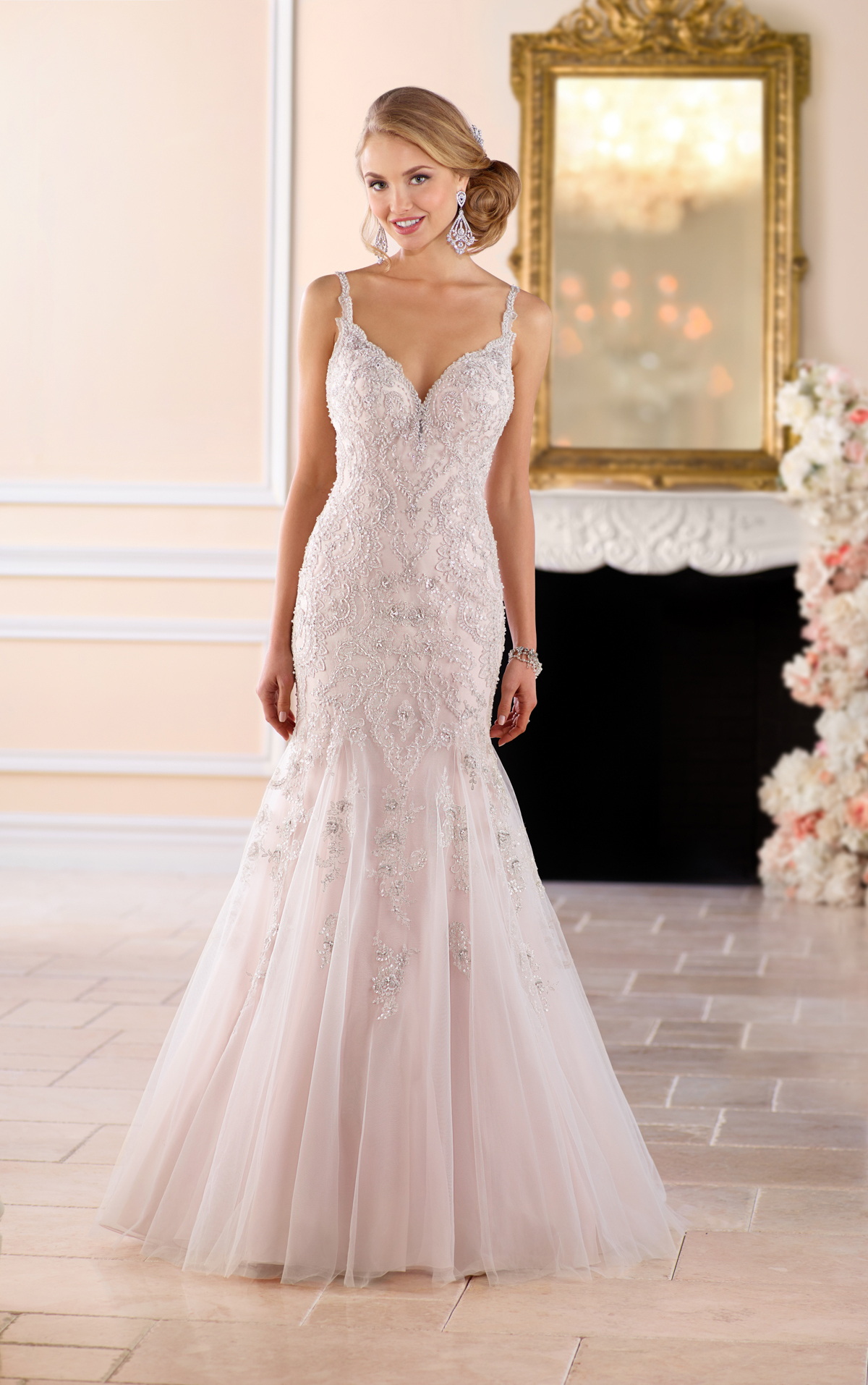 silver beaded wedding dresses photo - 1