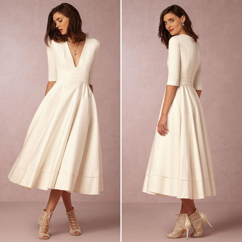 simple long wedding dresses photo - 1