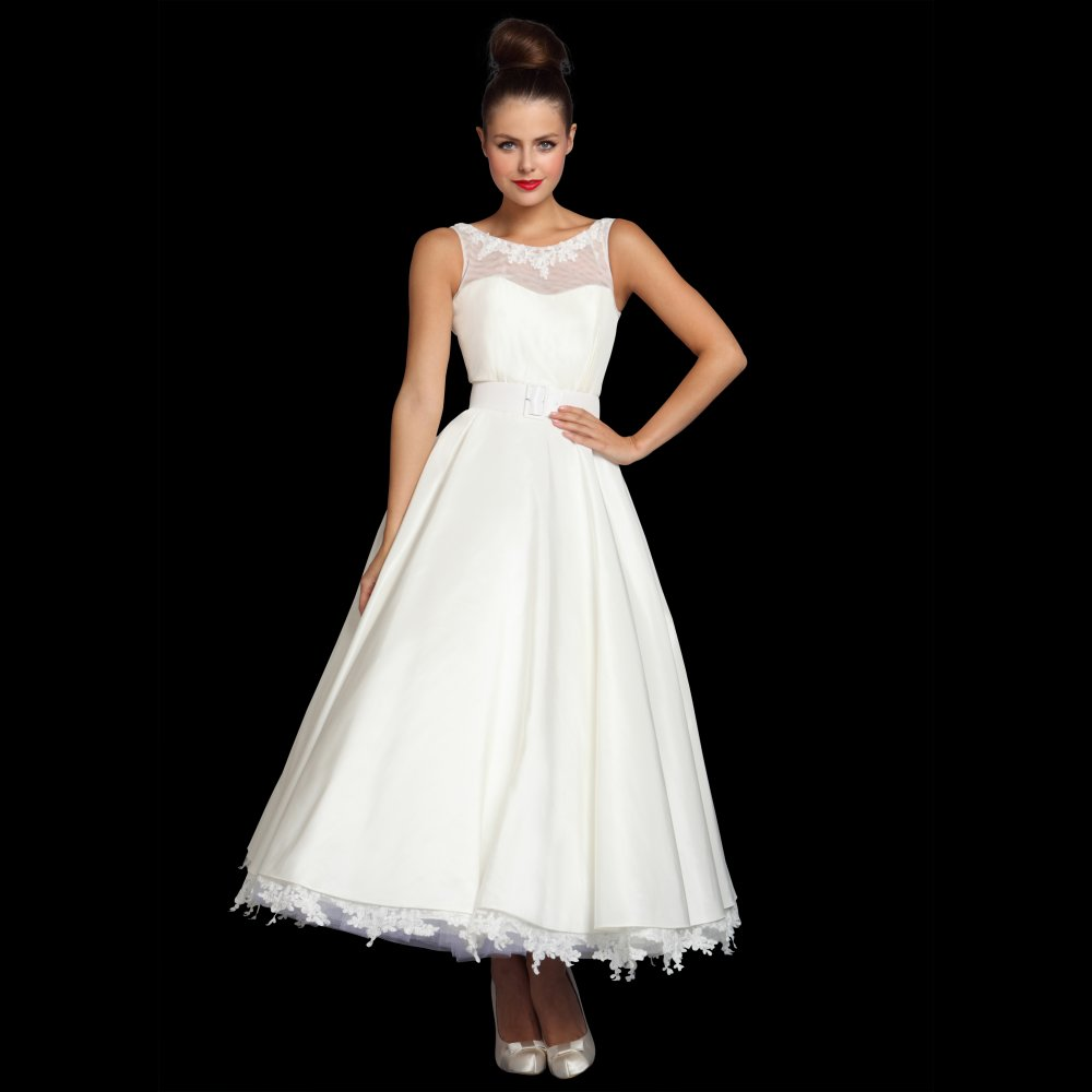 simple tea length wedding dresses photo - 1