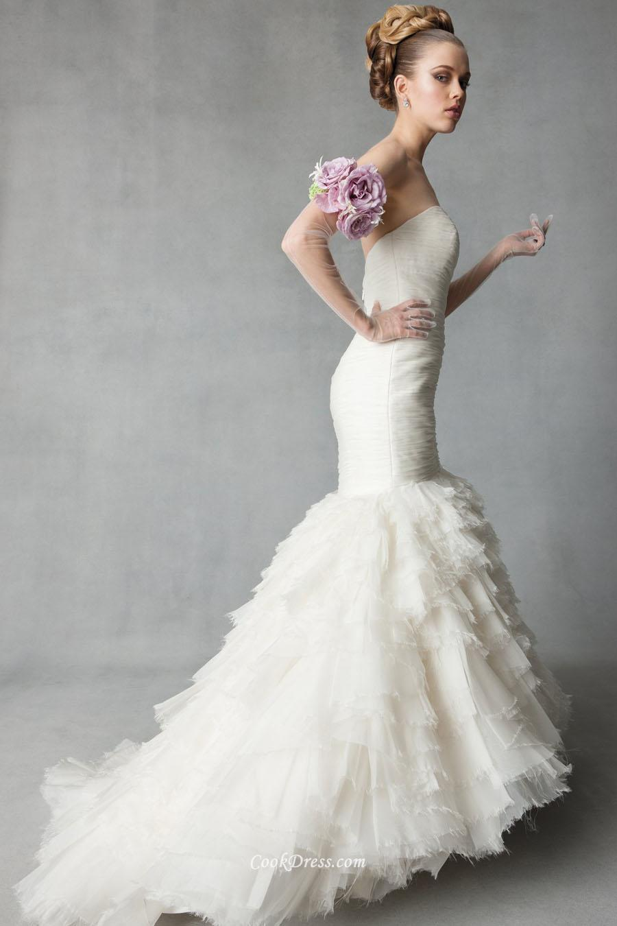 simple trumpet wedding dresses photo - 1
