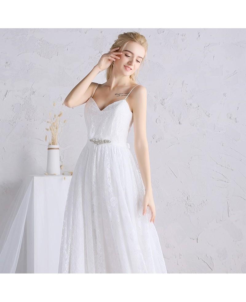 simple white lace wedding dresses photo - 1