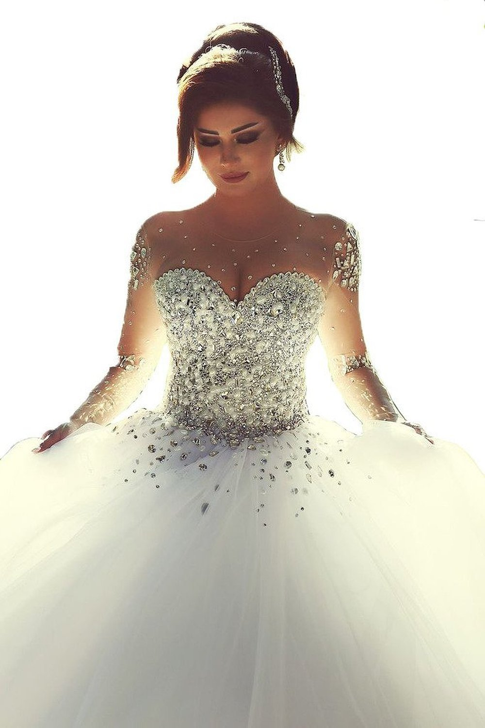 sparkly wedding dresses with sleeves photo - 1