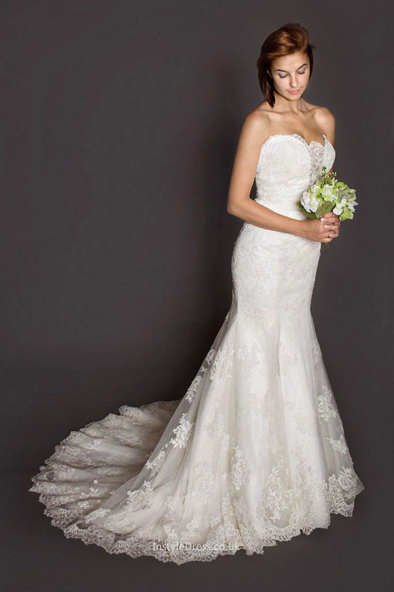 strapless lace mermaid wedding dresses photo - 1