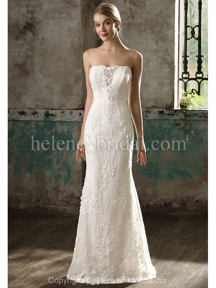 strapless lace wedding dresses photo - 1