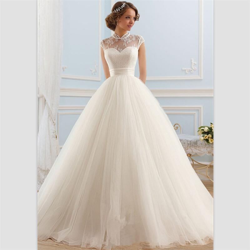 sweep train wedding dresses photo - 1