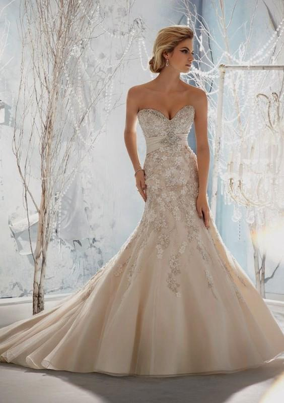 sweetheart neckline wedding dresses with bling photo - 1