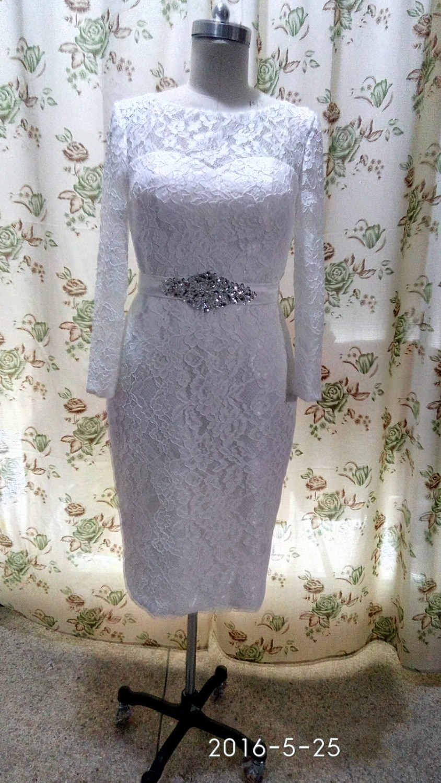 tea length ivory wedding dresses photo - 1