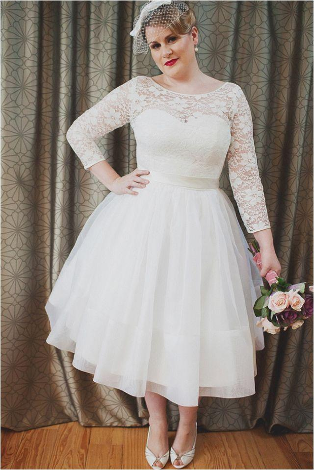 tea length lace wedding dresses with sleeves photo - 1