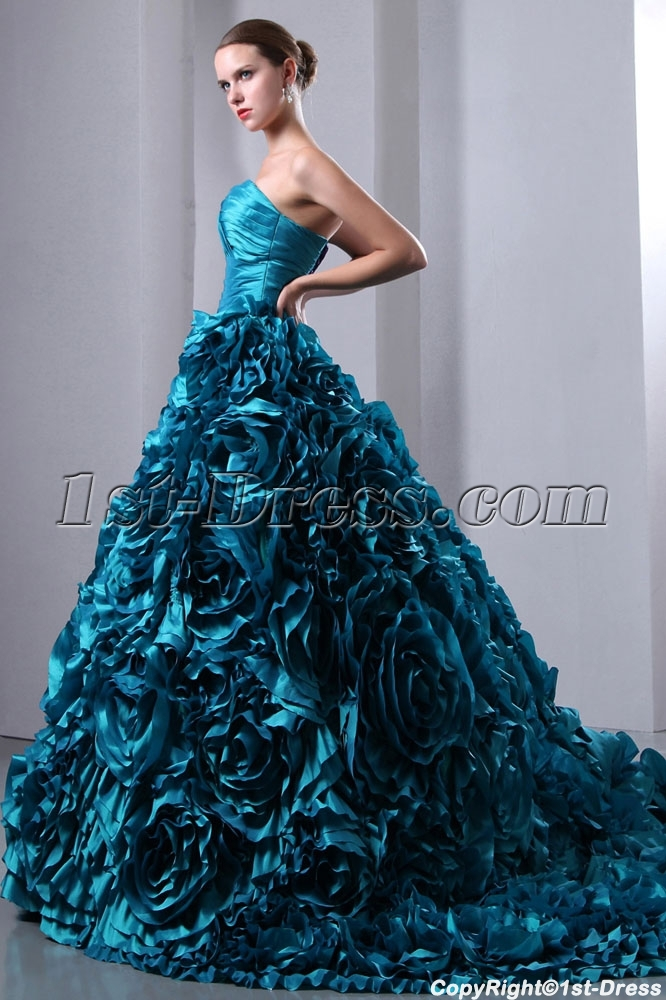 teal colored wedding dresses photo - 1