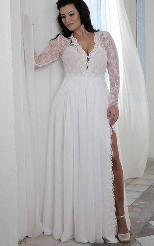 v neck plus size wedding dresses photo - 1