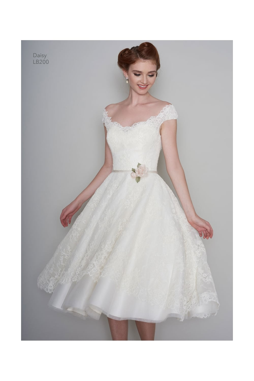 vintage knee length wedding dresses photo - 1
