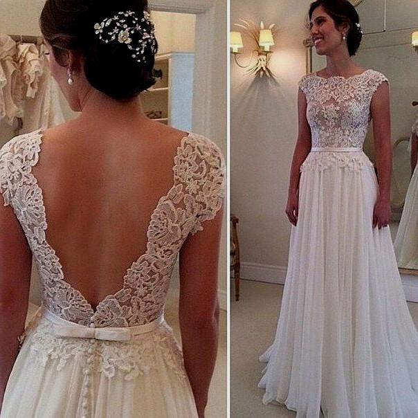 vintage lace wedding dresses with open back photo - 1