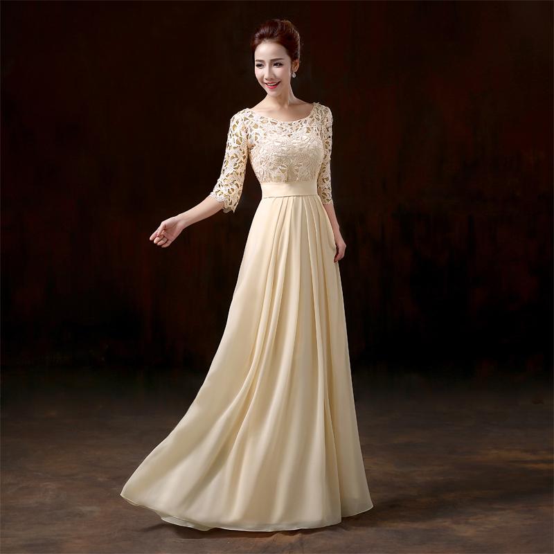 wedding dresses beige color photo - 1