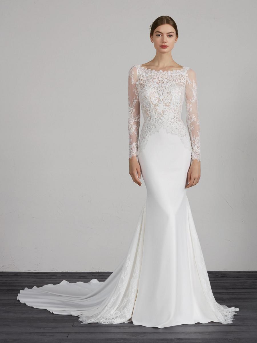 wedding dresses lace long sleeve photo - 1