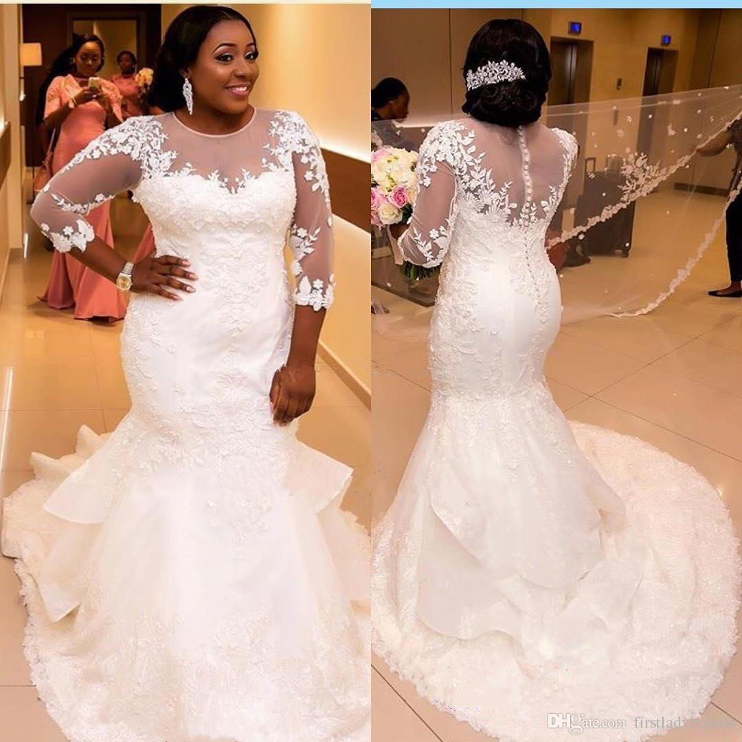 wedding dresses plus size mermaid photo - 1