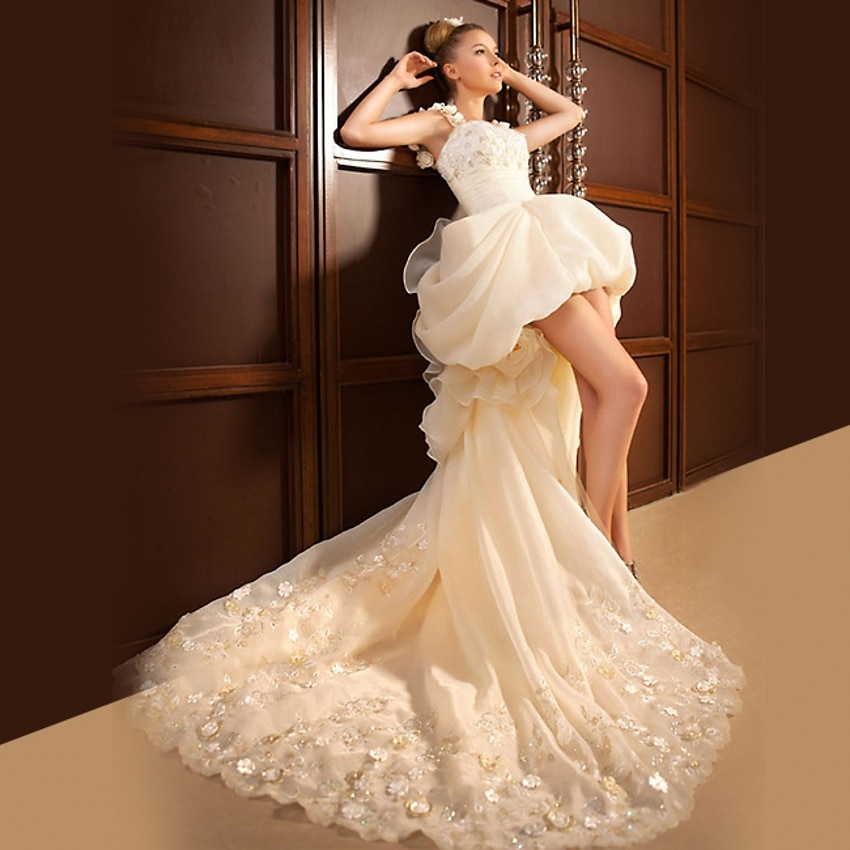 wedding dresses short in front and long in back photo - 1